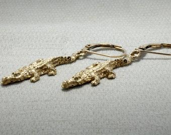 Unique Earrings for women Alligator Jewelry,  Crocodile Jewelry, Alligator Dangle Earrrings in 14kt. Yellow Gold ,