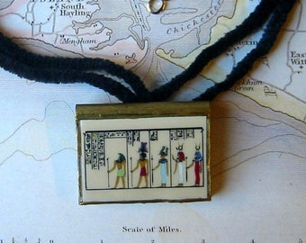 HORUS and OSIRIS and ISIS Egypt\/Egyptian GOD and GODDESS Czech BEADED EARRINGS and PENDANT NECKLACE Set
