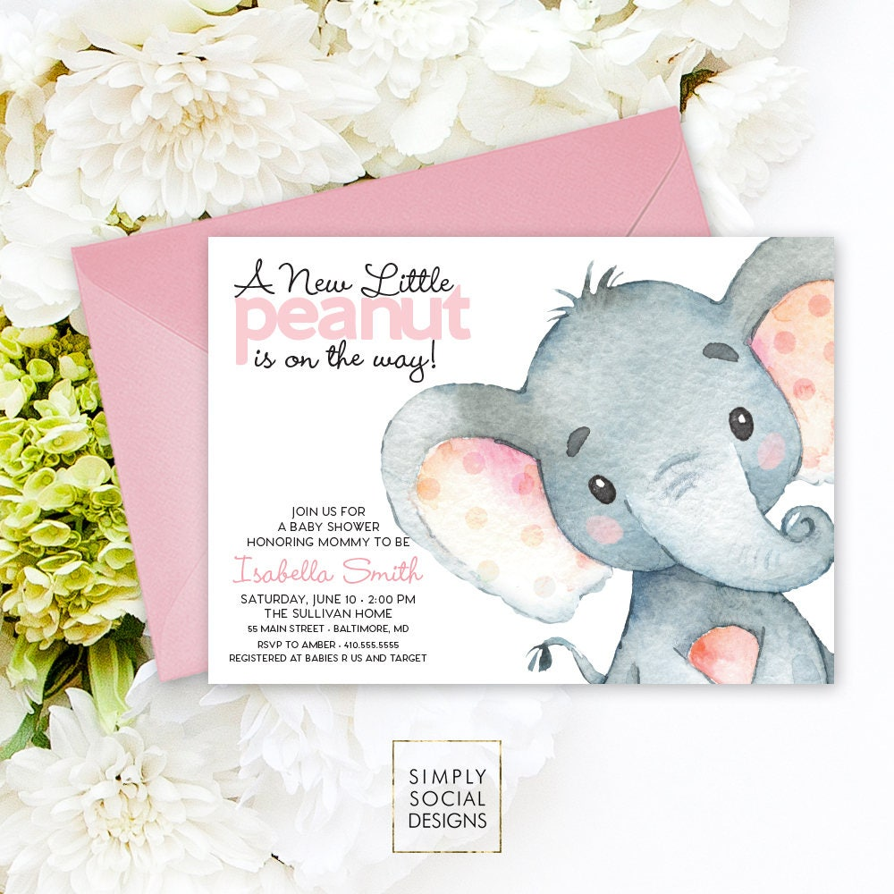 Pink Elephant Baby Shower Invitation - It\'s a Girl Watercolor ...