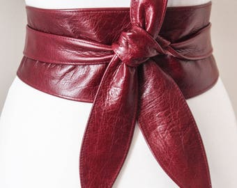 Dark Red Leather Belt Obi Belt  Sash Belt  Leather Wrap Belt  Tie Belt  Plus Size Belt   Corset Belt   Leather Obi Belt   Corset Obi Leather