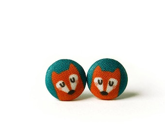 Fox Stud Earrings, Fabric Buttons, Small Ear Studs, Earrings for Children, Gift for Her