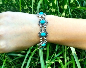 Silver Plated and Turquouise Bracelet, Bohemian Bracelet