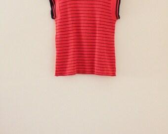 70's Striped Red Orange Knit Top