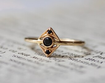 14K Black Diamond Art Deco Ring