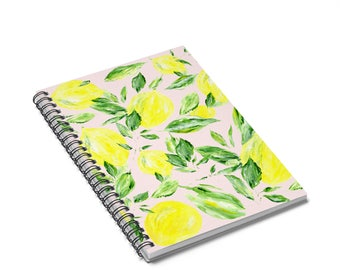 Pink Lemon Notebook, lemon notebook, lemon journal, pink notebook, pink journal, blush notebook, pink lemon, pink lemons