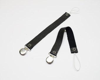 Pacifier clip, leather pacifier clip, black leather, black pacifier clip.