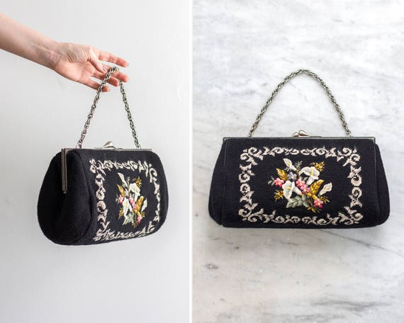 vintage 1950s black floral needlepoint handbag | 50s purse | floral tapestry bag | 1950s purse flowers