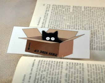 Black Cat in a Box Bookmark - Original Laminated Illustration