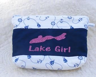 Nautical zipper pouch, Lake girl, vinyl applique