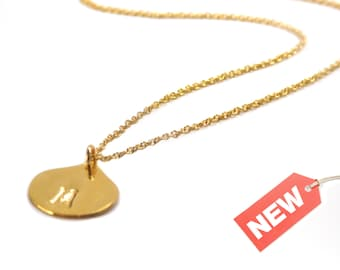 Dainty Gold Initial Charm Necklace, Initial Necklace, Gift for Her, Personalized Initial Jewelry, Gift for Women, Tear Drop Charm