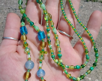 Green and Blue Glass Bead Long Necklace