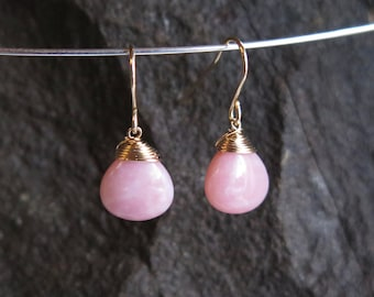 Pink Opal Earrings - October Birthstone - Gold Filled