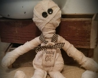 Primitive Mummy baby, prim Halloween decor, mummy rag doll, OFG, FAAP, mummy peg hanger, Halloween shelf sitter, baby mummy doll,