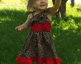 cheetah dress, cheetah print dress, cheetah birthday, cheetah outfit, cheetah party, one shoulder dress, red and cheetah,girls cheetah dress