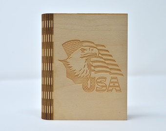 Laser Cut and Engraved Notebook - USA Flag and Eagle - NBC-006