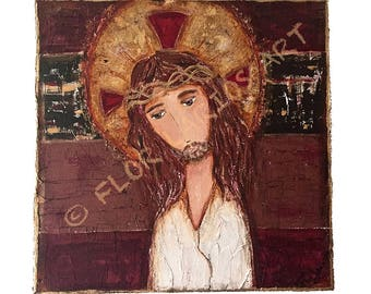 Jesus - Crown of Thorns -   Giclee print mounted on Wood (4 x 4 inches) Folk Art  by FLOR LARIOS
