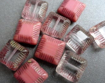 Large Pink Grooved Square Pillow Beads - Premium Czech Glass Beads