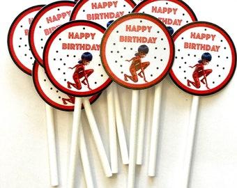Miraculous Ladybug Cupcake | Miraculous Cupcake | Miraculous Party Supplies | Miraculous Birthday | Miraculous and Cat Noir Party | Ladybug