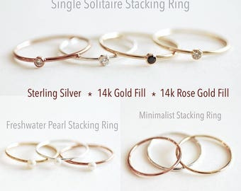 Stacking Ring- Sterling Silver, Gold Filled, Rose Gold Filled Rings, Pearl Ring, Minimalist Ring, thin band ring, solitaire ring, ring band