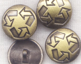 Brass Shank Buttons Recycle Symbol Sturdy Metal Buttons 15mm (5/8 inch) Set of 8/BT137