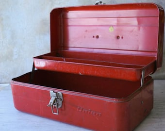 Retro Red Metal Tool Chest with Shelf, Red Union Tool Chest, Black Handle Tool Chest, Industrial Salvage, Rusty, Chippy Man Cave Tool Box
