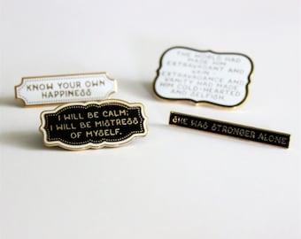 4 Pack Pin Set Sense and Sensibility hard enamel, literature Jane Austen inspired black gold white
