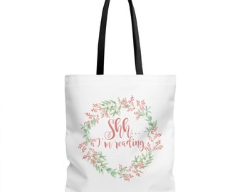 Book Tote Bag - Book Tote - Reader Gift - Shh I'm Reading - Canvas Tote - Book Lover Gift - Book Bag - Librarian Gift - Bookworm Gift - Book