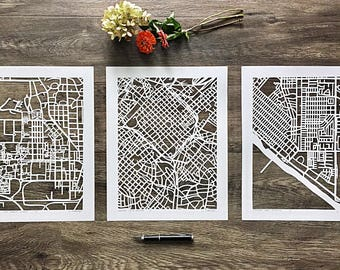 """custom hand cut map, set of three 11""""x14"""" ORIGINALS"""