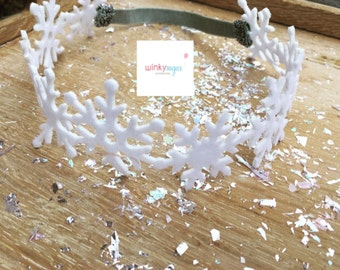 Snowflake garland headband/felt winter halo/winter wonderland halo/frozen party/ws117