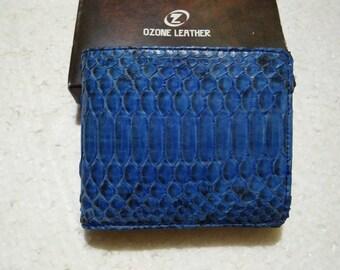 BLUE PYTHON WALLET Genuine Python Snakeskin Bifold Wallet #002