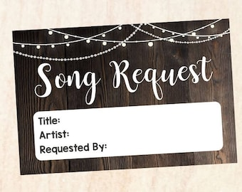 Song Request Card. Rustic wedding song request cards. PRINTABLE  digital instant download song requests signs