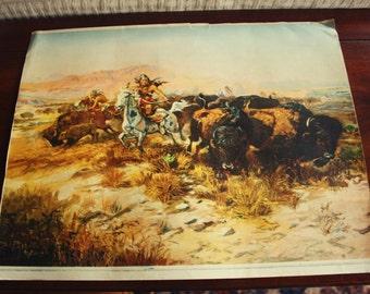 Vintage CM Russell 1899 Print