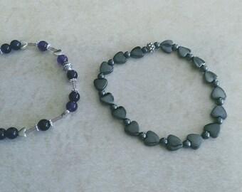 Choice-- Hematite Hearts OR Purple/Silver Heart Bracelet