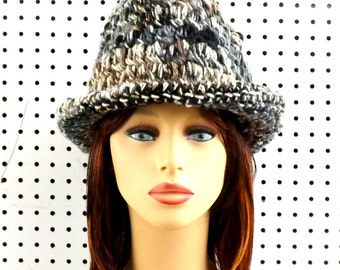 Crochet Hat Womens Hat Trendy, Womens Crochet Hat, Womens Fedora Hat, Natural Stripe Hat, Natural Hat, Andy Crochet Fedora Hat for Women