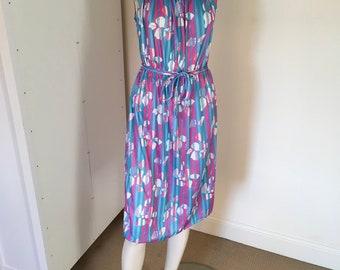 Vintage Pink Purple Blue Summer Midi Dress