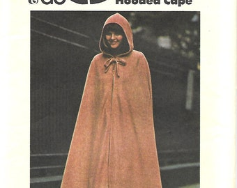 Butterick 3932 Sew & GoThe Hooded Cape Sewing pattern, Size Medium, UNCUT