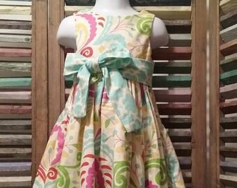Girls dress, Girls summer dress, Girls Easter dress,  Size 2,  100% cotton, Toddler girls summer dress, #71