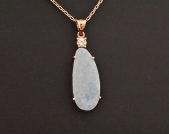 14K Rose Gold Natural Boulder Opal & Diamond Pendant | Rose Gold Necklace | Diamond and Opal Necklace | Minimalist Jewelry