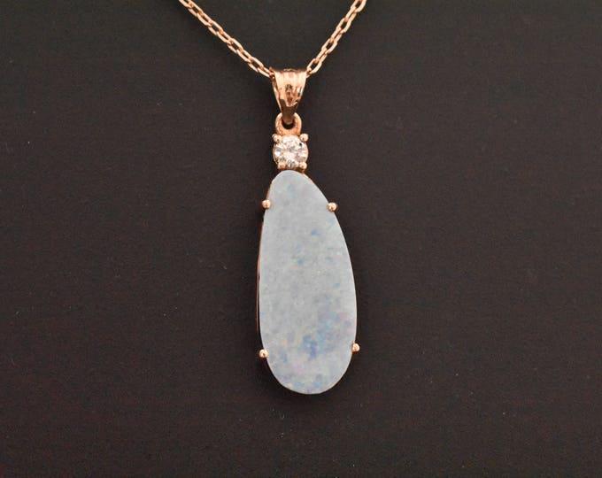 14K Rose Gold Natural Boulder Opal & Diamond Pendant | Rose Gold Necklace | Diamond and Opal Necklace | Minimalist Jewelry