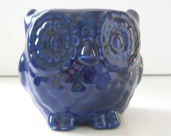 Owl Planter, Ceramic owls, Mini Owl, Desk Planter, Vintage Design, Navy Blue, Succulent Pot, Cactus Planter, Votive Candle Holder, Owl Gift