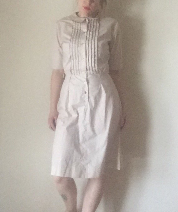 M mid century Peter Pan collar womens vintage LADY BIRD tags cotton button up short sleeve aline vintage 50s 60s Retro mod