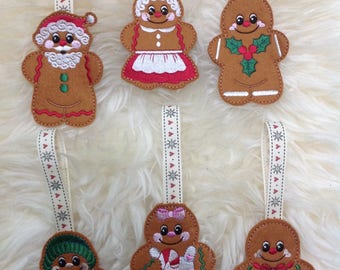 Embroidered felt Christmas gingerbread hanging decorations
