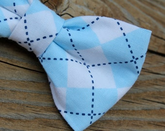 Soft Blue Argyle Plaid Bow tie - clip on, pre-tied with adjustable strap or self tying