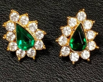 Emerald Green Teardrop Earrings with Crystals  Pierced - S2218
