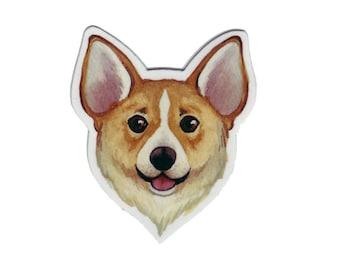 Corgi Dog Magnet / Dog Art / Pet Portrait / Refrigerator Magnet / Office Magnet / Party Favor / Small Gift