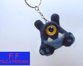 Monster key fob, sitting blue horn