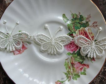 Reneabouquets Trim- Butterfly Ivory Lace , Embroidery,  Venice , Bridal, Costume Design, Lace Applique, Crafting