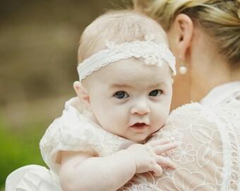Charlotte Christening Headband. Baptism wear. Christening accessories.