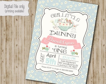 Bunny Birthday Invitation // Easter Birthday Invite // Girl Birthday Invite // Tea Party Birthday Invitation // Watercolor Floral