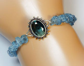 "Cynthia Lynn ""LONDON BLUE"" Sterling Silver London Blue Topaz Beaded Bracelet 7-8 inches"